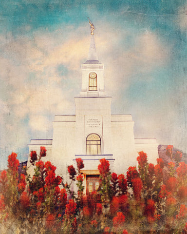 Star Valley Wyoming Temple with Red flowers.