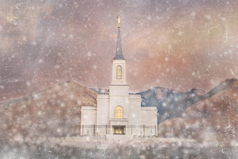 Star Valley Wyoming Temple - Snow by Mandy Jane Williams