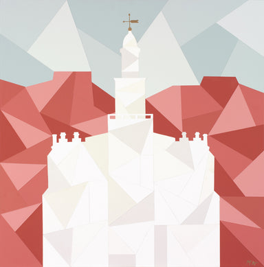 Geometric painting of the St. George Utah temple