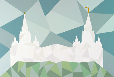 Geometric painting of the San Diego California temple.