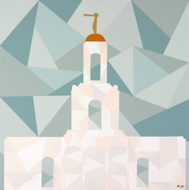 Geometric painting of the Newport Beach California Temple.