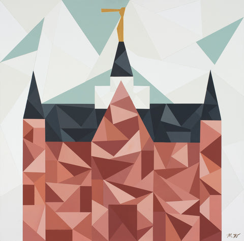 Geometric painting of the Provo City Center Utah temple.