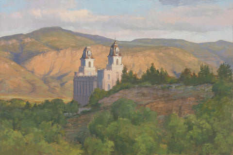 Manti Temple - Sunrise by Linda Curley Christensen