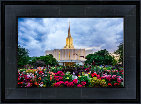 Jordan River Utah Temple 15x20 framed strata design