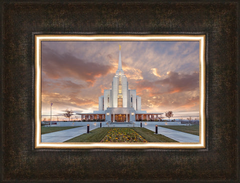Rexburg Idaho Temple- Autumn Sunset 10x12 framed giclee canvas