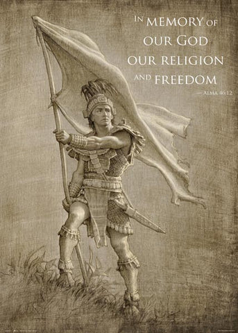 Captain Moroni - Title of Liberty Quote - 20x28 poster featuring Title of Liberty by Joseph Brickey (Special)