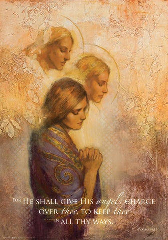 For He shall give His angels charge over thee... - 14x20 poster featuring Angels Among Us by Annie Henrie (Special)