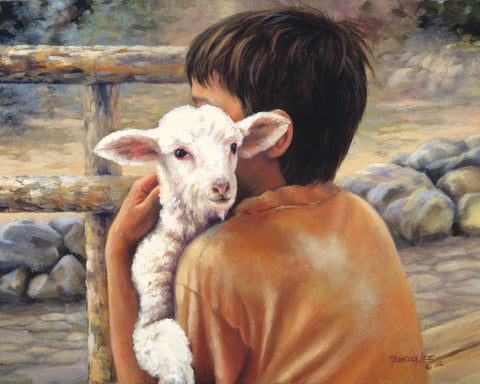 Young boy holding a white lamb.