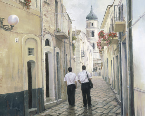 Two elder missionaries walking an empty European street.