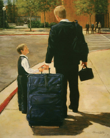 young boy saying good by to a missionary standing on the corner of the Provo utah MTC with a suitcase.