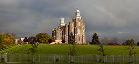 Logan Temple - Spring Panoramic by Robert A Boyd