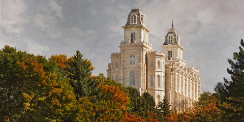 Manti Temple - Fall Trees by Robert A Boyd