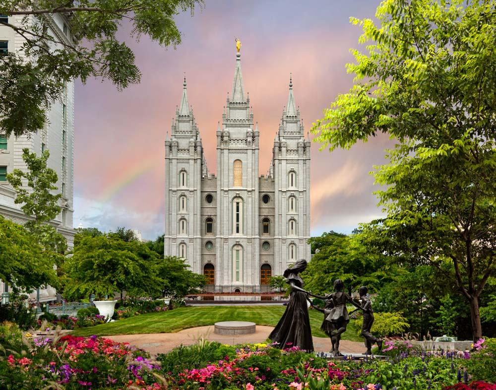 Salt Lake Temple - Spring Statue by Robert A Boyd