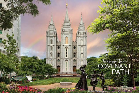Salt Lake Temple - Spring Statue 12x18 repositionable poster