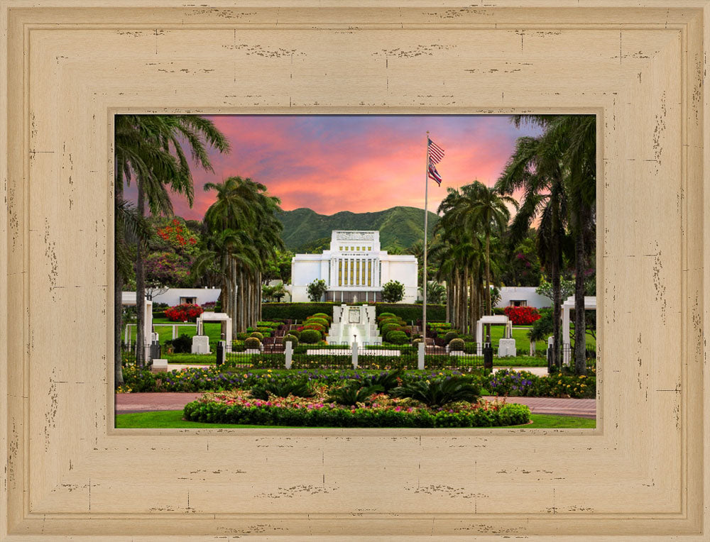 Laie Temple - Blossoming Spring by Robert A Boyd