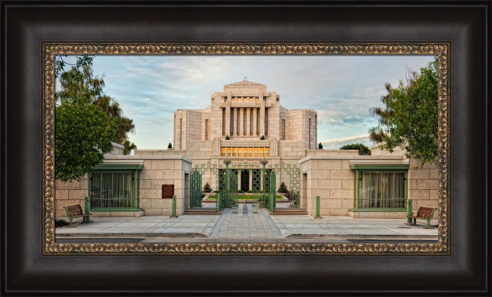 Cardston Temple - Gate Panoramic by Robert A Boyd