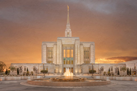 Ogden Temple - Sunset by Robert A Boyd