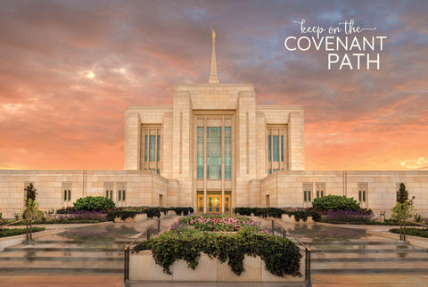 Ogden Temple - Garden Panoramic 12x18 repositionable poster