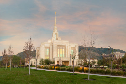 Ogden Temple - Evening Path by Robert A Boyd