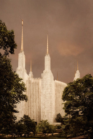 Washington DC Temple - Sepia by Robert A Boyd