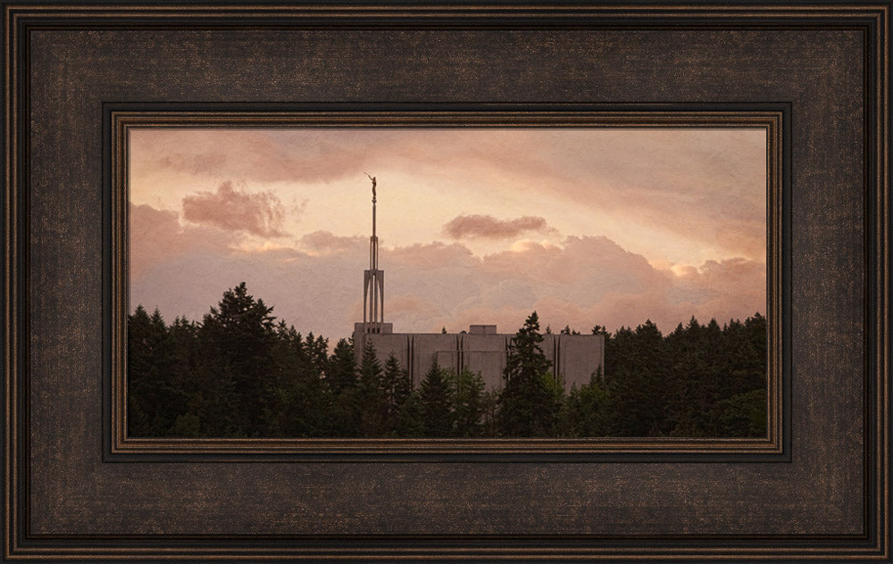 Seattle Temple - Sunset Panoramic by Robert A Boyd