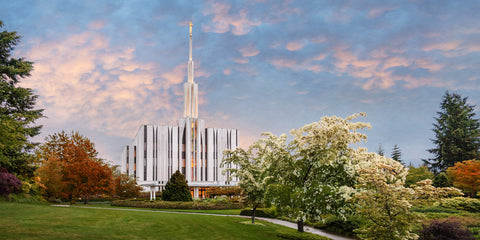 Seattle Temple - Morning by Robert A Boyd
