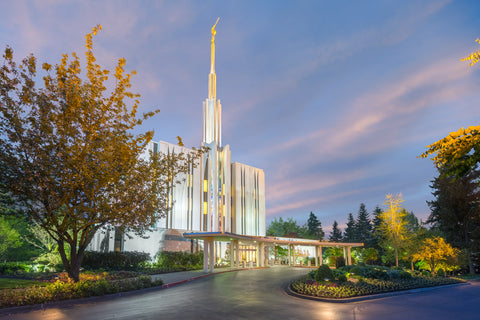 Seattle Temple - Evening Light by Robert A Boyd