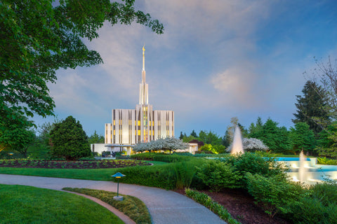 Seattle Temple - Fountains by Robert A Boyd