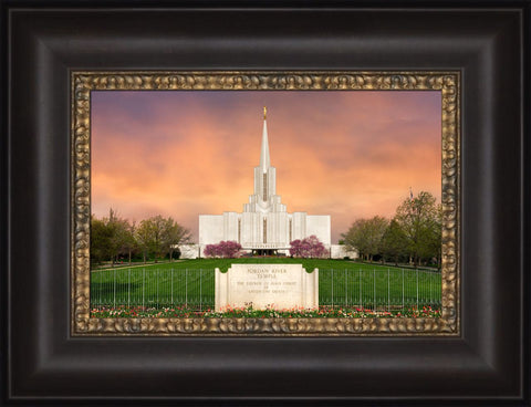 Jordan River Utah Temple - Vibrant Sunrise 12x15 framed canvas