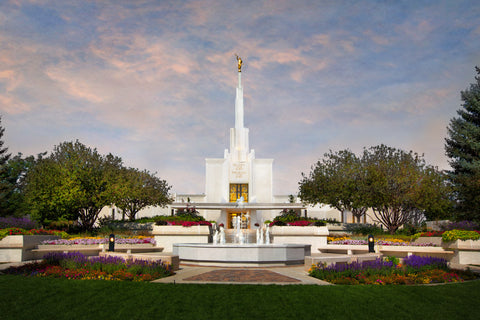 Denver Temple - Sunset by Robert A Boyd