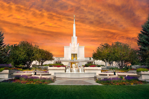 Denver Temple - Orange Sky by Robert A Boyd