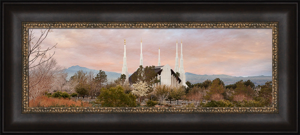 Las Vegas Temple - Sunset Wide Panoramic by Robert A Boyd