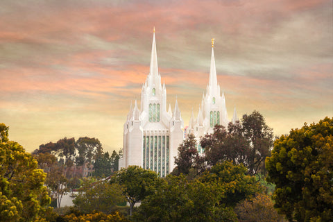 San Diego Temple - Yellow Skies by Robert A Boyd
