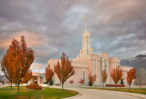 Mt Timpanogos Temple - Autumn Trees by Robert A Boyd