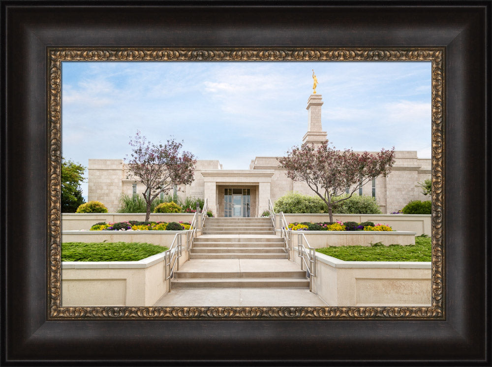 Monticello Temple - Summer Stairs by Robert A Boyd