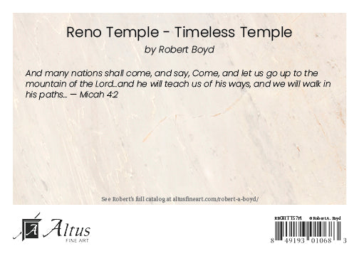 Reno Temple - Timeless Temple Series by Robert A Boyd