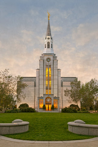 Boston Temple - Window Sunset by Robert A Boyd