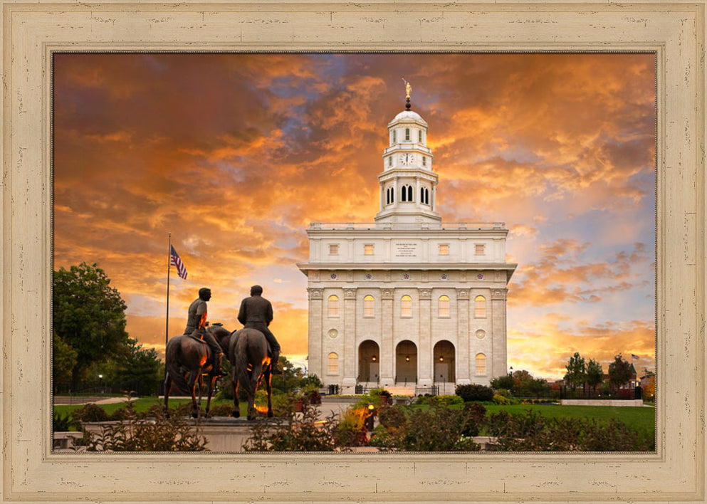 Nauvoo Temple - Sunrise with Joseph and Hyrum by Robert A Boyd