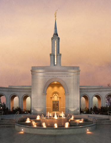 Sacramento Temple - Evening Fountain by Robert A Boyd