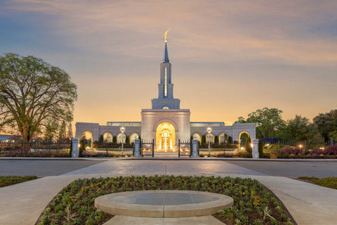 Sacramento Temple - Sunset Fountains by Robert A Boyd