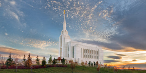 Rexburg Temple - Radiant Alabaster Panoramic by Robert A Boyd