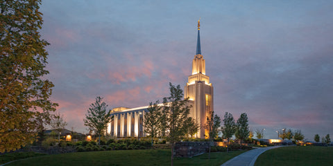 Twin Falls Temple - At Dusk by Robert A Boyd