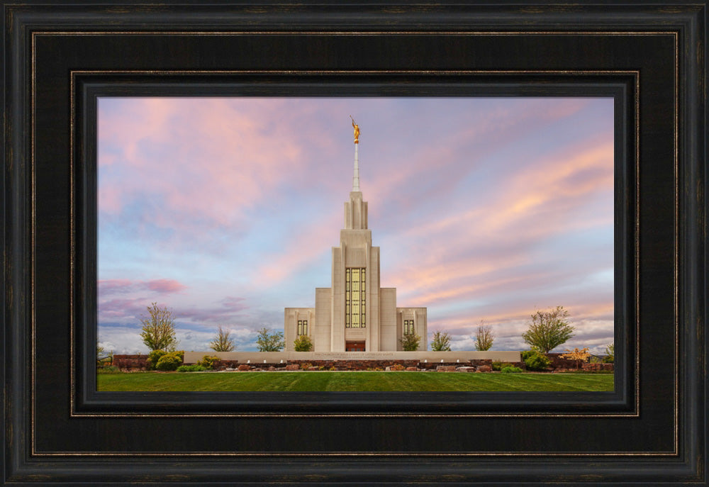 Twin Falls Temple - Evening Glow by Robert A Boyd