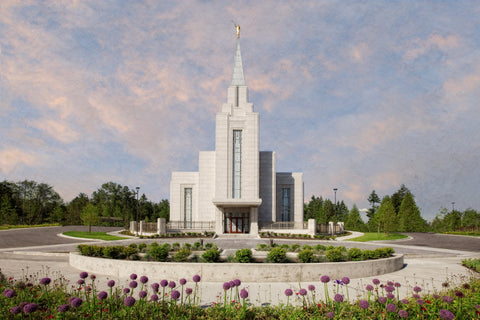 Vancouver BC Temple - Purple Flowers by Robert A Boyd