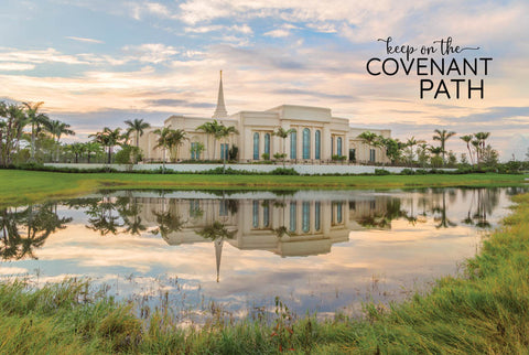 Fort Lauderdale Temple - Reflection Pond 12x18 repositionable poster