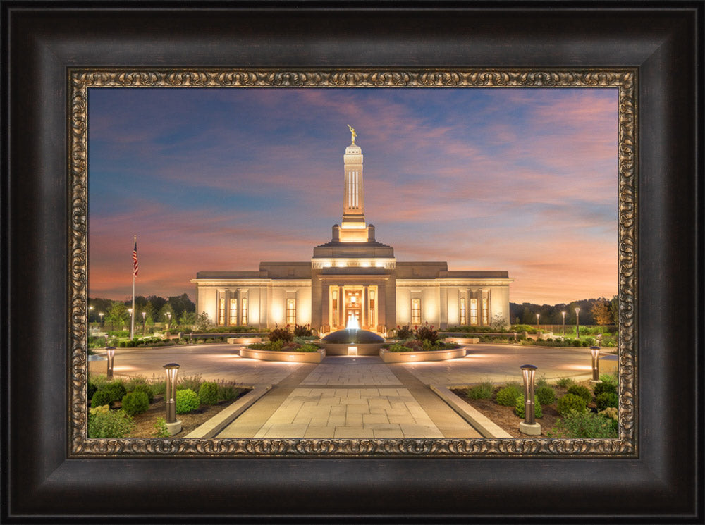 Indianapolis Temple - Sunset by Robert A Boyd