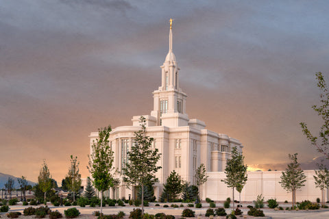 Payson Temple - Eventide by Robert A Boyd