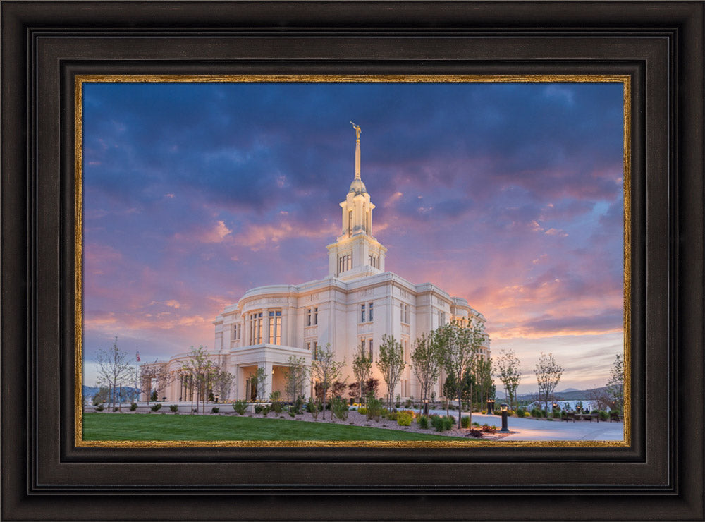 Payson Temple - Purple Sky by Robert A Boyd