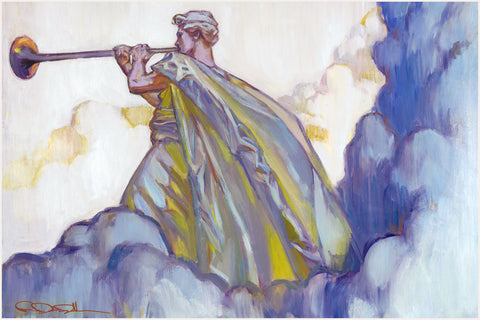 An angel standing in the clouds blowing a trumpet.