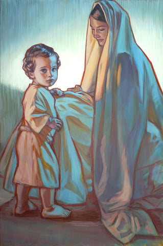 Young jesus with his mother Mary.